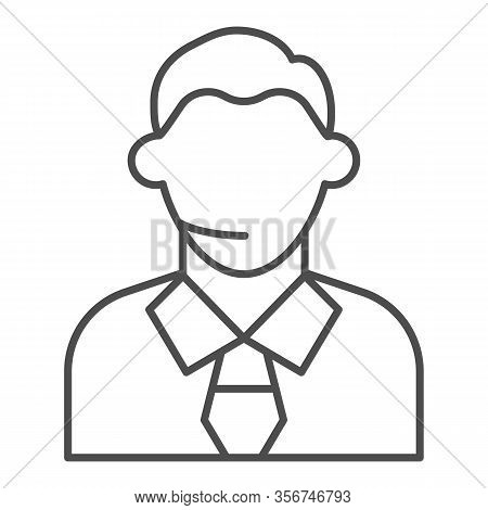 Football Or Soccer Commentator Thin Line Icon. Human With Headset, Fan Support Symbol, Outline Style
