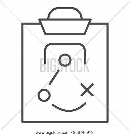Match Tactics Thin Line Icon. Soccer Or Football Game Strategy Explanation Board Symbol, Outline Sty