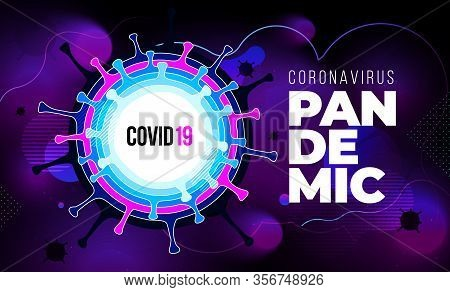 Coronavirus Covid-19 Sars-cov-2 On A Purple Futuristic Background. Virus Infections Prevention Metho