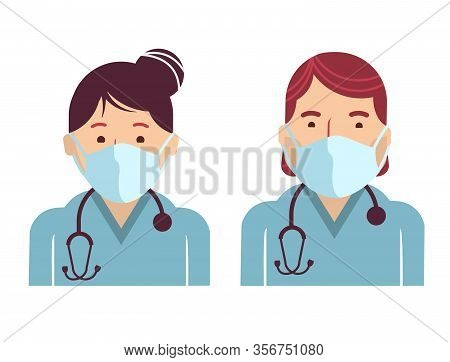 Medical Workers Avatars. Vector Doctors In Masks Isolated On White. Hospital Staff In Uniform.