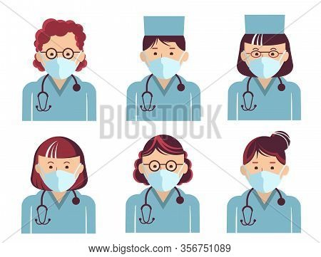 Medical Workers Symbol Avatars. Vector Doctors Portrait In Masks Isolated On White. Hospital Staff I