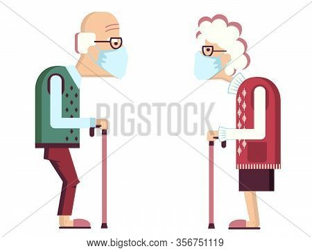 Elderly Couple Wearing Protective Medical Masks For Prevent Virus Covid-19. Vector Avatars Of Old Pe