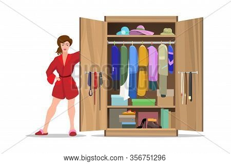 Woman With Opening Closet. Clothes Wardrobe With Female Person Color Vector Illustration, Apparel Op