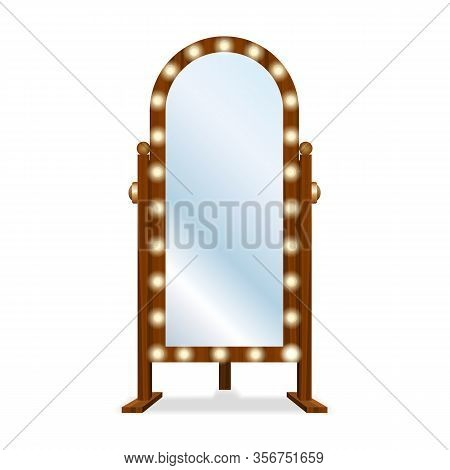 Fashion Floor Mirror. Big Wooden Empty Makeup Mirror With Full Bright Luminous Frame With Lighting B