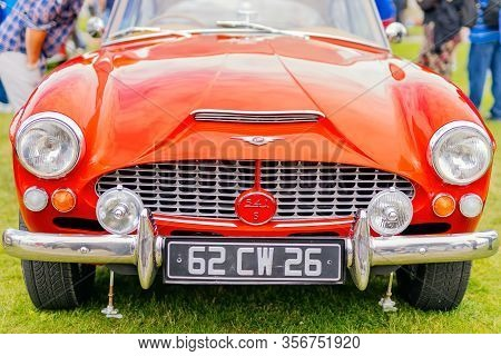 Bray, Ireland, June 2018 Bray Vintage Car Club Show, Open Air Retro Cars Display. Front View On Red