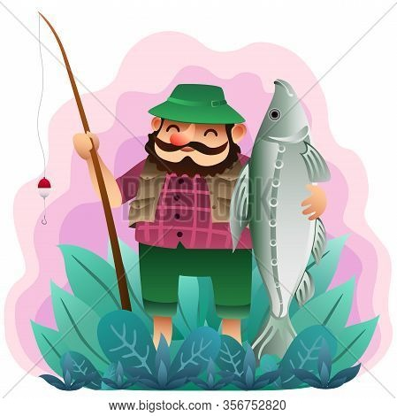 Funny Cartoon Fisherman With Very Big Fish On Plant Background. Vector Illustration.
