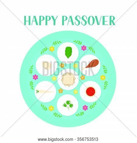 Passover Ceder Plate With Traditional Food Isolated On White. Jewish Holiday Easter. Easy To Edit Ve