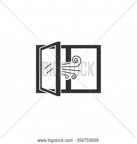 Airing Open Window Icon In Simple Design. Vector Illustration