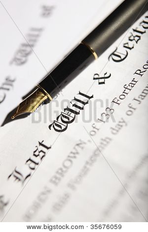 Last Will And Testament Document With Fountain Pen
