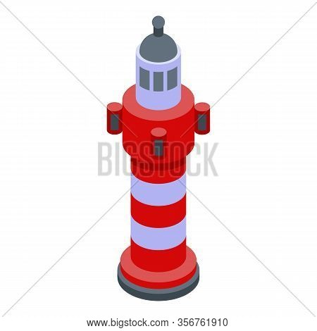 Port Lighthouse Icon. Isometric Of Port Lighthouse Vector Icon For Web Design Isolated On White Back