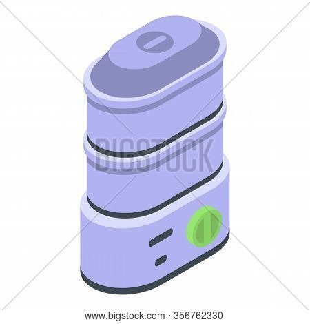 Steamer Appliances Icon. Isometric Of Steamer Appliances Vector Icon For Web Design Isolated On Whit