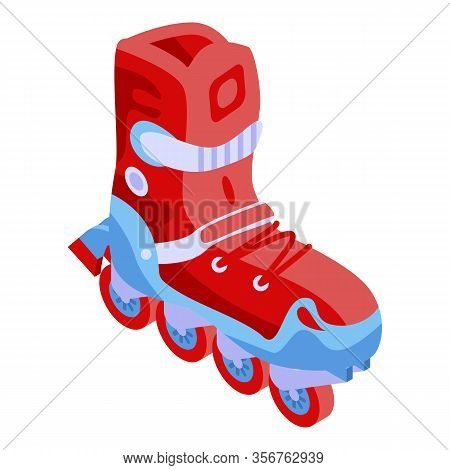Red Inline Skates Icon. Isometric Of Red Inline Skates Vector Icon For Web Design Isolated On White