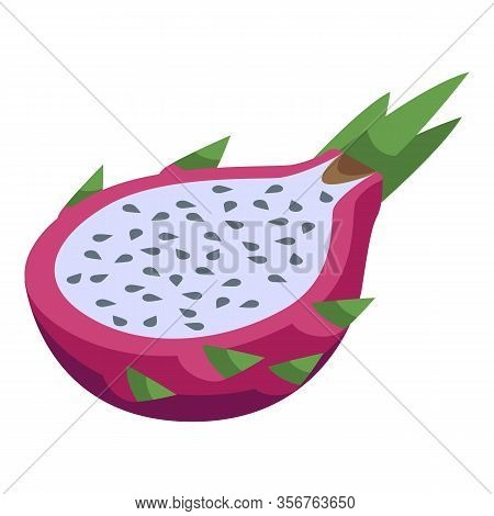 Half Pitaya Icon. Isometric Of Half Pitaya Vector Icon For Web Design Isolated On White Background