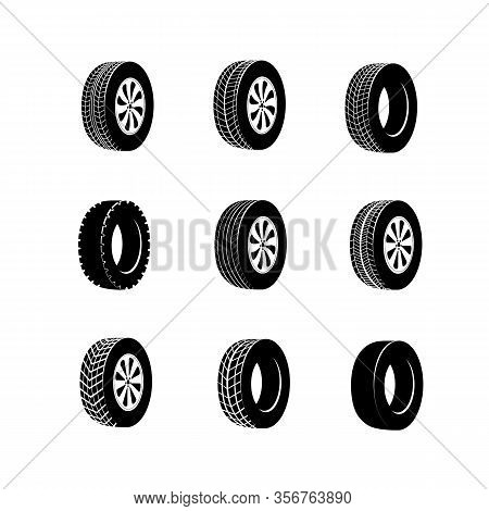 Tire Or Wheel For Truck Or Bus, Automobile Tyre. Vulcanization Or Garage, Rally Sport Or Tire Mount,