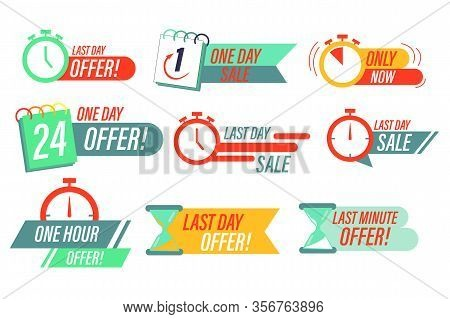 Sale Countdown Badges. Last Minute Offer Banner, One Day Sales And 24 Hour Sale Promo Stickers.  Cle
