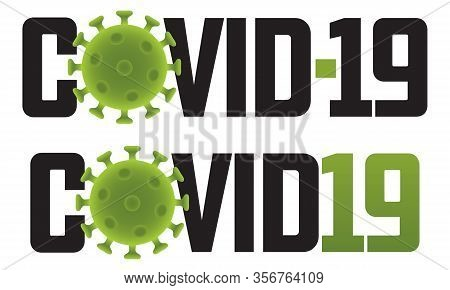Covid-19 Logo Illustration With Virus Molecule Set Of Two Different Covid-19 Vector Graphics Or Badg