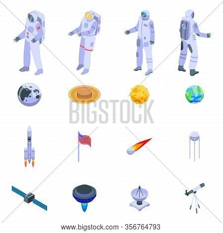 Astronaut Icons Set. Isometric Set Of Astronaut Vector Icons For Web Design Isolated On White Backgr