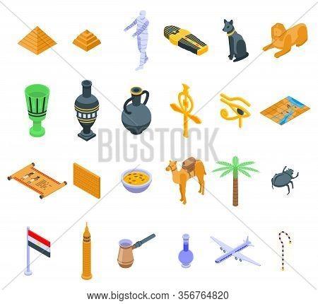 Egypt Icons Set. Isometric Set Of Egypt Vector Icons For Web Design Isolated On White Background