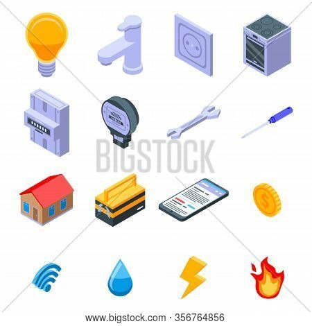 Utilities Icons Set. Isometric Set Of Utilities Vector Icons For Web Design Isolated On White Backgr