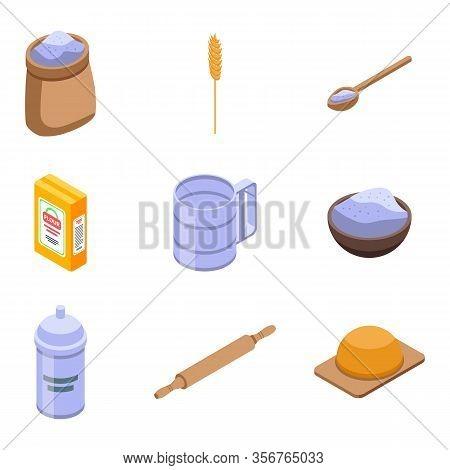 Flour Icons Set. Isometric Set Of Flour Vector Icons For Web Design Isolated On White Background