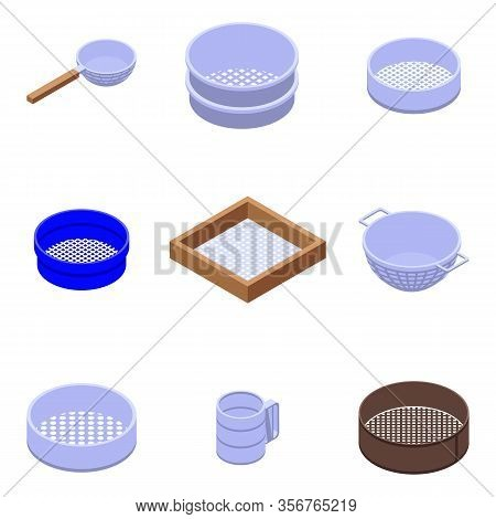 Sieve Icons Set. Isometric Set Of Sieve Vector Icons For Web Design Isolated On White Background