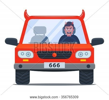 Crazy Driver In A Damn Car. Aggressive Driving. Flat Character Vector Illustration
