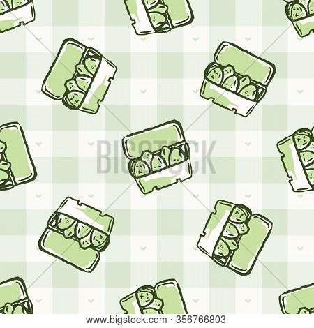 Hand Drawn Whimsical Egg Carton Gingham Seamless Pattern. Vector Vintage Check Retro Food Background