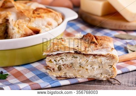 Savory Puff Pastry, Spanakopita, Greek Pie With Cheese Filling