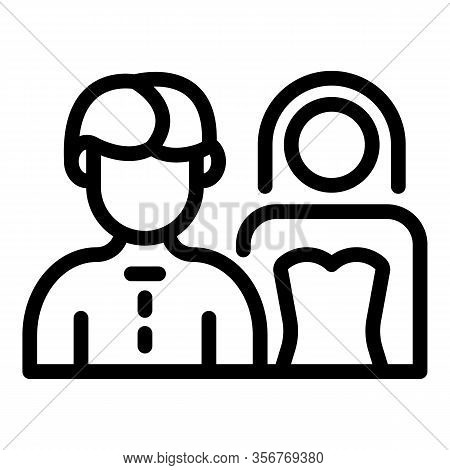 Just Married Couple Icon. Outline Just Married Couple Vector Icon For Web Design Isolated On White B