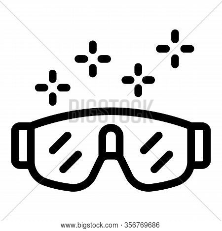 Protected Glasses Icon. Outline Protected Glasses Vector Icon For Web Design Isolated On White Backg