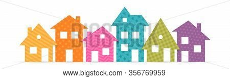 Colorful Suburban Houses Flat Icon. Vector Illustration
