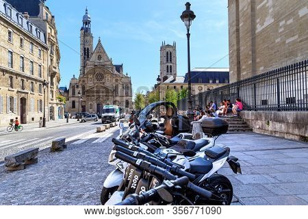 Paris, France - August 30, 2019: This Is A View Of The Church Of Saint Etienne Du Monts And The Towe