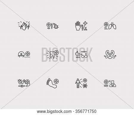 Medical Sciences Icons Set. Cardiology And Medical Sciences Icons With Toxicology, Surgery And Addic