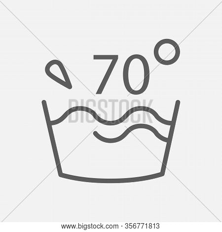 Water Temperature 70 Deg Icon Line Symbol. Isolated Illustration Of Icon Sign Concept For Your Web S