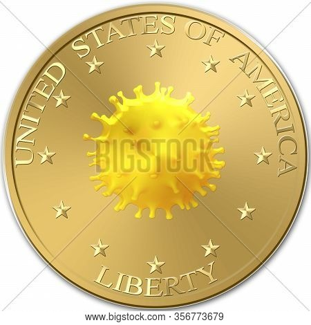 Pandemic And Viral Epidemic Bring Down American Currency And Stock Exchange In United States. Covid-