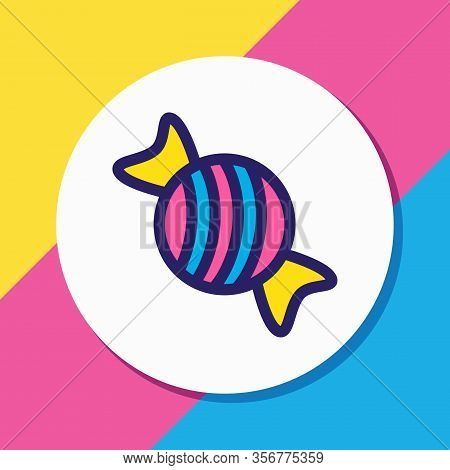 Vector Illustration Of Candy Icon Colored Line. Beautiful Eating Element Also Can Be Used As Bonbon