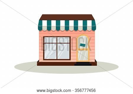 Building Facade. A Bakery, Cafe, Pastry Shop And A Small Dessert Shop. Market Or Supermarket. Flat V
