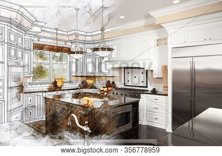 Beautiful Custom Kitchen Design Drawing Gradating Into Finished Photograph.