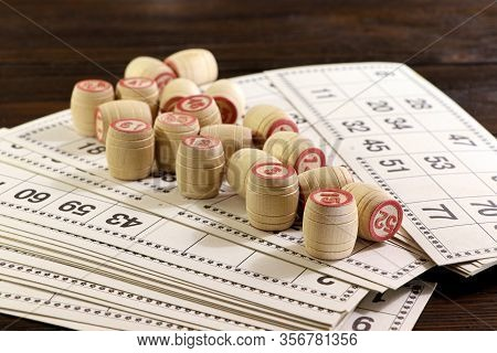 Board Game Lotto With Wooden Barrels. Lotto Cards. Bingo Games. Gambling.