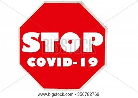 STOP SIGN. Stop Coronavirus19. COVID-19. Coronavirus Sign. Red USA Stop Sign with STOP CORONAVIRUS. Isolated on white. Clipping Path. World Wide Pandemic. Disease. Wuhan China released Covid-19.