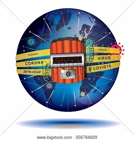 Coronavirus 2019 - Harbinger Of The End Of The Time. Conceptual Vector Illustration. Globe Wrapped B