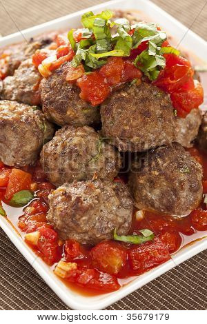 Homemade Meatballs In Red Tomato Sauce