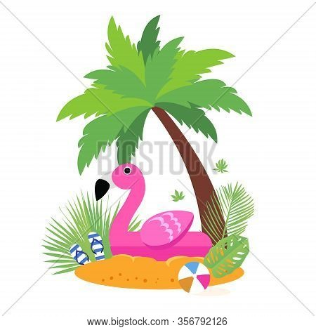 Giant Inflatable Pink Flamingo On The Sunny Beach. Pool Float Toy, Ball And Palm Tree. Summer Holida