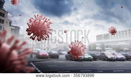 Coronavirus Covid-19. Pathogen Respiratory Influenza Covid Virus Cells. Dangerous Flu Strain. Flying