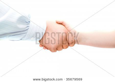 Father and son handshake isolated over white background.