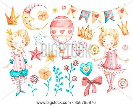 Cute Princess Baby Girl. Watercolor Vector Nursery Cartoon Magic Little Queen Cute Air Balloons Star