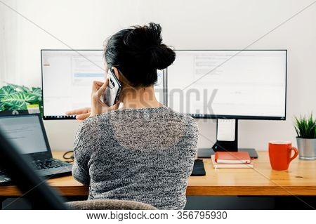 Woman Working At Home. Office Worker On Quarantine. Home Working To Avoid Virus Disease. Freelancer