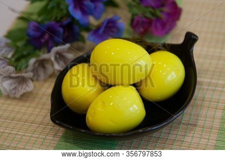 Ready Cold Dish: Pickled Yellow Saffron Eggs For Easter - Modern Cuisine, Food Photo
