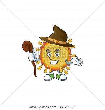 Sweet And Tricky Witch Outbreaks Coronavirus Cartoon Character