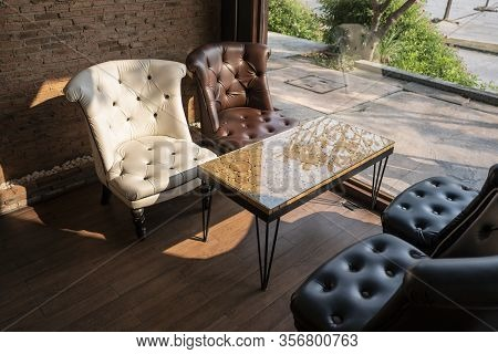 Detail Of Classic Furniture Sofa In Living Room